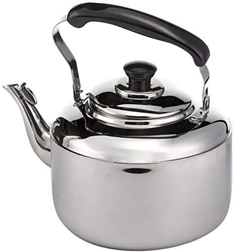 Bouilloire induction 5L gaz Bouilloire en acier inoxydable Teakettle Whistling bouilloire à thé for tous Stovetop avec poignée ergonomique Whistling Teapot WHLONG
