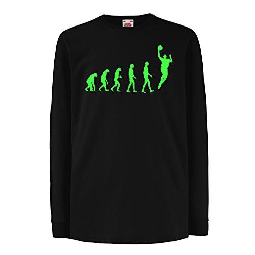 Camisetas de Manga Larga para Niño evolución de Baloncesto - Canasta de la Calle, me Encanta Este Juego, Gran Fan de Regalo (14-15 Years Negro Verde)