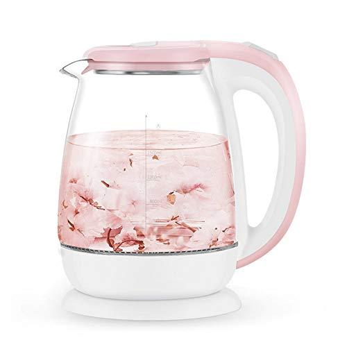 Hervidor Agua Eléctrico Rosa de cristal de 1,8 litros eléctrico automático caldera del agua del calentador de agua caliente 1500W de ebullición del pote del té Aparato de cocina de control de tempera