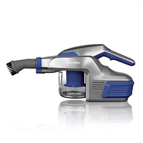 CLEANmaxx Handstaubsauger mit 4000mAh Li-Ion Akku inkl. Wandhalterung | ca. 30 min Betriebslaufzeit bei vollem Akku | inkl. Verlängerrungsrohr, 150 Watt (Blau)
