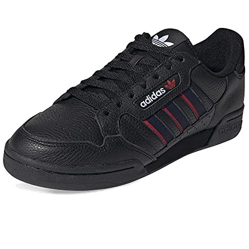 adidas Continental 80 Stripes, Zapatillas Hombre, Core Black Collegiate Navy Vivid Red, 44 2/3 EU