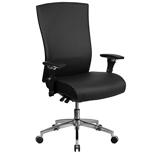 Flash Furniture HERCULES Series 24/7 Intensive Use 300 lb. Rated Black LeatherSoft Multifunction Ergonomic Office Chair with Seat Slider, BIFMA Certified