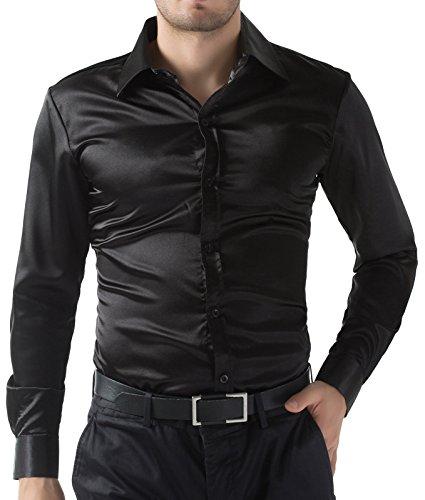 PaulJones Slim Fit Mode Stil Freizeit Herrenhemd Schwarz Größe XL