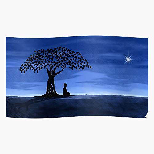 Tree Blue Yellow Metal Mandala Yoga Beige Buddha I Fsgteam- Impressive and Trendy Poster Print decor Wall or Desk Mount Options