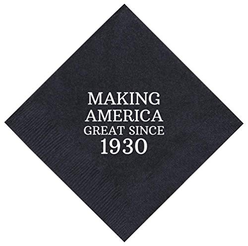 "90th Birthday Gifts Making America Great Since 1928 90th Birthday Party Supplies 50 Pack 5x5"" Party Napkins Cocktail Napkins Black"