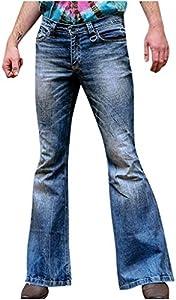 NUSGEAR Pantalones Vaqueros para Hombre, 80s Pantalones Casuales Moda Jeans Sueltos Retro Ocasionales Elásticos Pantalon Fitness Pants Largos Pantalones Ropa de Hombre Pantalones Acampanados vpass