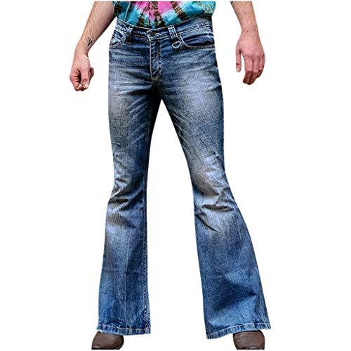 Overdose Pantalones Campana Hombre Azul De Mezclilla Sueltos Retro Elegante 50s Jeans Fiesta CláSica De La Vieja Escuela Talla Grande