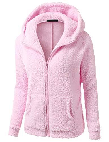 Fuxiang Damen Winter Warm Hoodie Sweatjacken Pullover Sweatshirt Sweatjacke mit Kapuze Frauen Sport Zipper Damensweatjacke Mit Reißverschluss Tops Langarm Kapuzenpullover Mantel Rosa XL