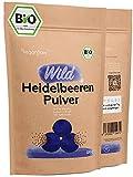 veganflow® Wild Heidelbeeren Pulver Bio 100g, gefriergetrocknetes Pulver aus der ganzen Beere, für Smoothies, Frucht-Pulver für die Bowl, vegan
