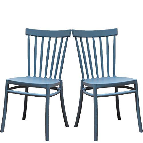 2 Sillas Windsor Color Azul, Sillas de Comedor plástico. Incluye 2 sillas. Elegantes para Cocina o Comedor, apilables y Muy Resistentes.