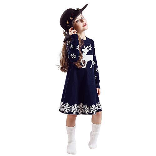 TTYAOVO Vestido de Fiesta de Princesa Navideña de Punto de Manga Larga para Niñas de 2 a 6 Años 2-3 Años Azul