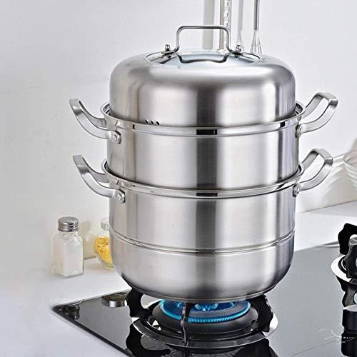 zyl Vaporera con 3 Niveles Acero Inoxidable 201 con Tapa de Vidrio Estufa a Vapor orgánica Adecuada para cocinas de inducción hornos eléctricos de cerámica cocinas a Gas cocinas eléctrica
