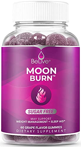 MoonBurn Nighttime Apple Cider Vinegar & Melatonin Gummies Formulated for Weight Control, Calm, Relaxation & Sleep Support - Chromium, Magnesium - Grape Flavor (60 Ct)