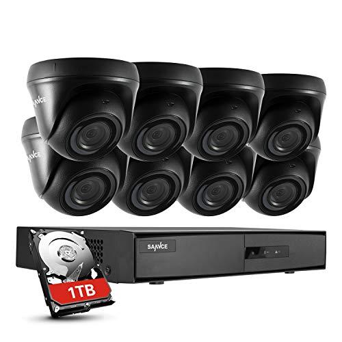 SANNCE Kits de Seguridad 8 1080P Cámaras Sistema de Vigilancia H.264 CCTV 8CH DVR Lite IP66 Impermeable, IR-Cut, Visión Nocturna Hasta 20M - 1TB Disco Duro