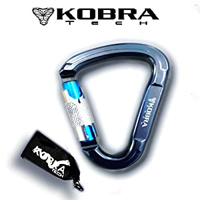 """kobra tech Strong Aluminum Large 4.5"""" Climbing Carabiner D Shape Clip 25 KN - with Auto Locking Gate and Self Lock Carabiner for Rock Climbing and Hiking Or Other Outdoor Use Comes with Bonus !!!"""