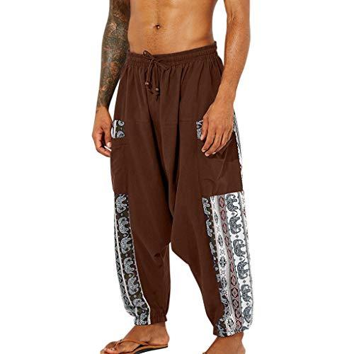 Orientalische Hosen Herren Aladinhose Trekking Gymnastikhose Sporthosen Vintage-Stil Patchwork Laterne Hose Baggy Pluderhosen Boho Hippie Hose Freizeithose Sportswear Hose
