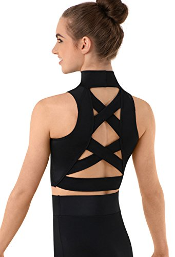 Balera Crop Top Girls Tank for Dance Sleeveless Mock Neck Midi Sports Bra with Strappy Back Criss Cross Straps Black Child Large