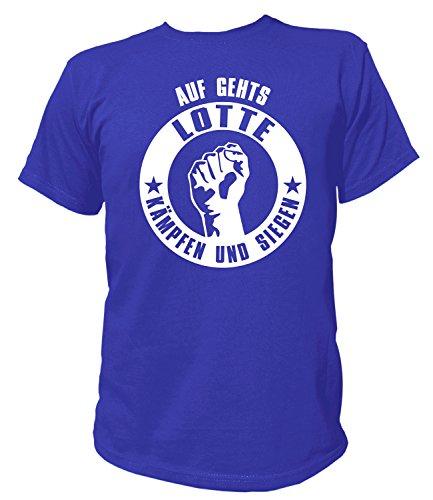 Artdiktat Herren T-Shirt - Auf gehts Lotte - Kämpfen und Siegen Größe L, blau