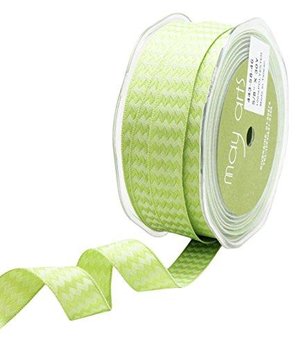 May Arts - Cinta Tejida con Alambre (1,5 cm), diseño de Zigzag, Color Verde