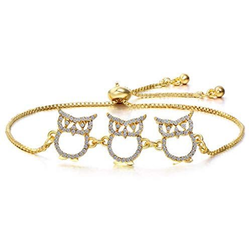 MGMDIAN Women's adjustable bracelet, Charm Owl Pendant Wrist Cuff Bracelet Best Gift for Friends (Color : Gold)