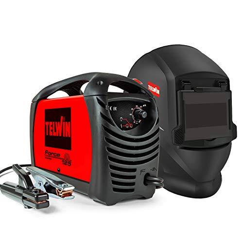 Telwin 815861 Force 125 Saldatrice Inverter ad Elettrodo Completa di Maschera, 230 V, Rosso, Force 125 + maschera