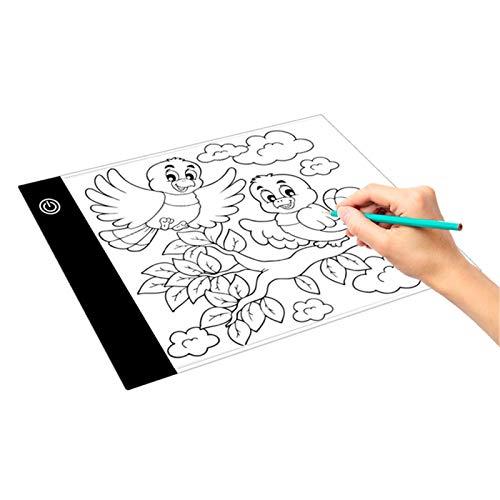 Tablero de Dibujo Tablero de dibujo LED Ajuste continuo de tres velocidades a la estación de copia A5 Tabla de copia portátil ultrafina Para Artistas Dibujando ( Color : BlackA , Size : 24X15x0.5cm )