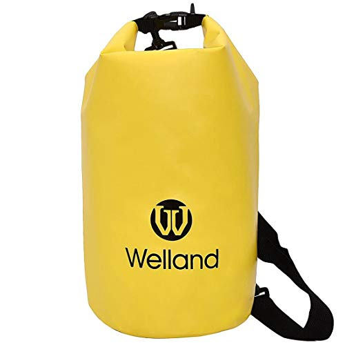 WELLAND Waterproof Dry Backpack 20L, Water Sports Gear for Kayaking, Rafting, Boating, Swimming, Camping, Hiking, Fishing, Skiing, Yellow