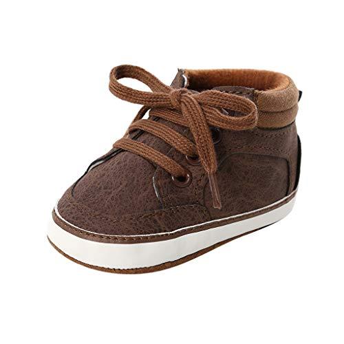 Unisex Sneakers Baby Jungen Schnürsenkel Lauflernschuhe Weiche Sohle Turnschuhe Kind Schnüren Schuhe (Braun, 12 (6~12Monate))
