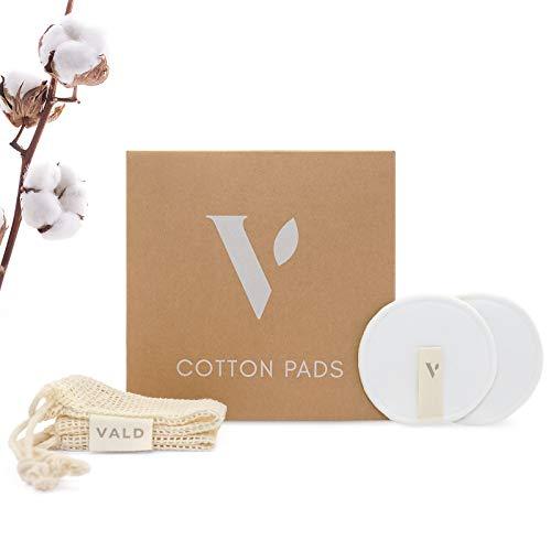 VALD® Waschbare Abschminkpads - 12 Pads aus 100% Baumwolle für eine natürliche & nachhaltige Gesichtsreinigung