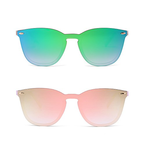 Sin Marco Montura Gafas de Sol Una Pieza Espejo Reflexivo Anteojos Para Hombre Mujer 2 Paquete(Verde&Rosa)