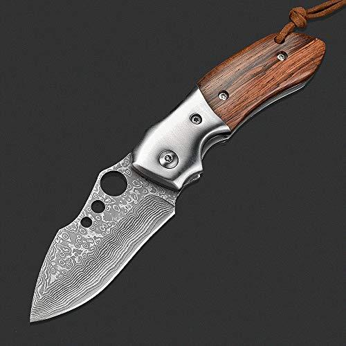 NedFoss Damast Taschenmesser Klappmesser, Holzgriff Damaststahl Messer, Folder Knife 7cm Klinge, Damastmesser mit Gürtelclip - extra scharf (Parrot)
