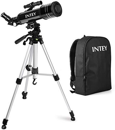 INTEY Telescopio Astronomico - Telescopio Rifrazione con l'Oculare Achromat di Kellner K25mm e K6mm, Treppiede in Alluminio Regolabile (50~120cm), con Zaino, Regalo di Natale