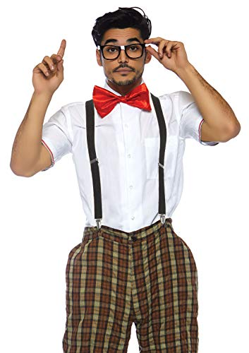Leg Avenue Men's 4pc.Nerdy ned,Plaid Pants, Suspenders, Bow tie, Glasses, Brown, LARGE
