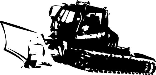Wandtattoo – PISTENBULLY, Pistenraupe, Schnee, Berge, Wintersport // Farb- und Größenwahl (Schwarz - 1240 mm x 600 mm)