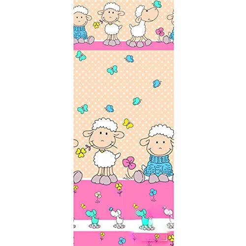 Tela de algodón 100 % para niños, diseño de oveja, por metros, artesanía, tela de costura (ropa de cama grande, 100 x 160 cm)