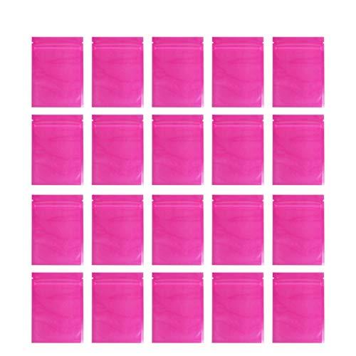 HEALLILY 100 Stks Zelfsluitende Plastic Zakken Kleurrijke Half-Transparante Zelfsluitende Zip Opbergzakken Verpakking Zak Voor Sieraden Voedsel (Roze)