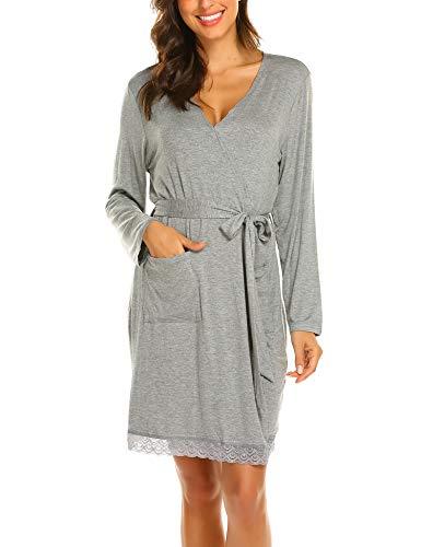 MAXMODA Damen Morgenmantel Kimono Still-Nachthemd für Schwangere Nachthemd-Nachtwäsche zum Stillen