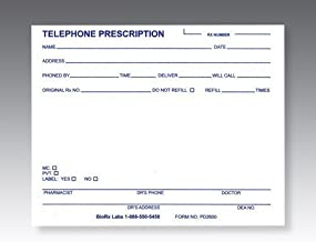 Telephone Prescription Pads, Pack of 10 pads (100 sheets/pad)