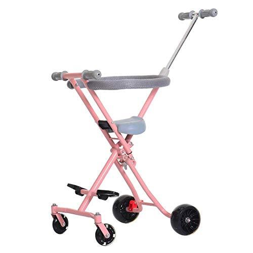 PINGHC Delivery®⭐⭐⭐⭐⭐ Kinderwagen Trolley Mit Bremse Baby-artefakt Unser Kind Handklappwagen Gehendes Einfaches Leichtes Aluminium-Skateboard,Pink