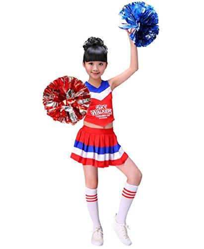 G-Kids Mädchen Cheerleader Kostüm Kinder Cheerleader Uniform Karneval Fasching Party Halloween Kostüm mit 2 Pompoms Socken (Rot, 130cm)