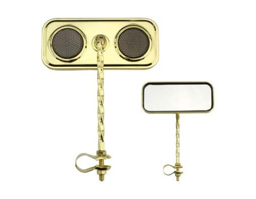 Lowrider Rectangle Twisted Mirror Gold Black Reflectors. Bike Mirror, Bicycle Mirror, Beach Cruiser, Chopper, Limo, Stretch Bike, BMX, Track, Fixie, Mountain Bikes