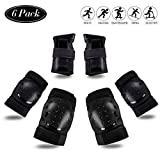 STARPOW Knee Pads for Kids/Adult Elbows Pads Wrist Guards 3 in 1 Protective Gear Set for Skateboarding, Roller Skating, Rollerblading, Snowboarding, Cycling(S/M/L) Black, Adult (Large)