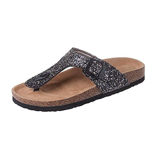 Mxfjolly Zapatillas Planas y Frescas de Verano, Zapatillas de Playa de Gran tamaño con Abrazadera para Mujer-Black_36
