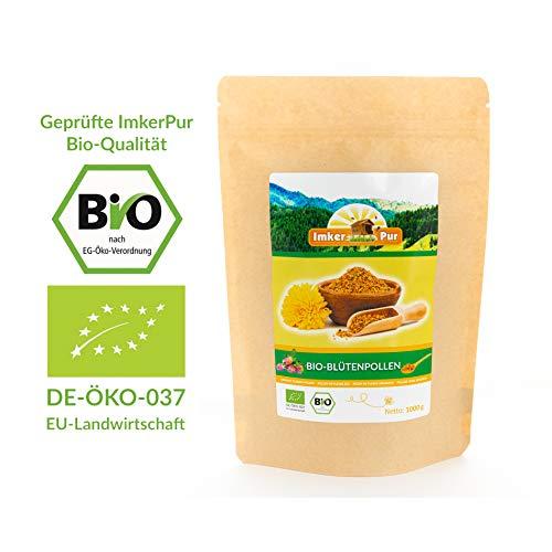 BIO-Blütenpollen / Bienenpollen in Premium-Imkerqualität, von ImkerPur, 1 kg, komplett rückstandsfrei, süßlich-mild (Bio, 1 kg)