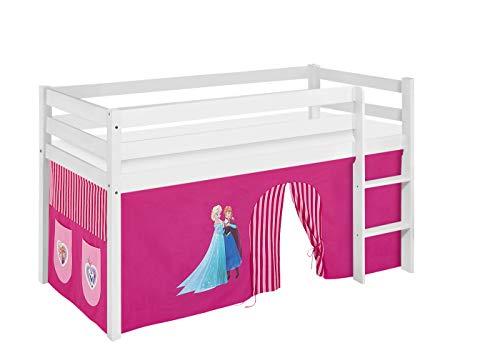 Lilokids Lit mezzanine JELLE La Reine des Neiges Rose – Certifié TÜV & GS – Blanc – Lit mezzanine avec rideau et sommier à lattes