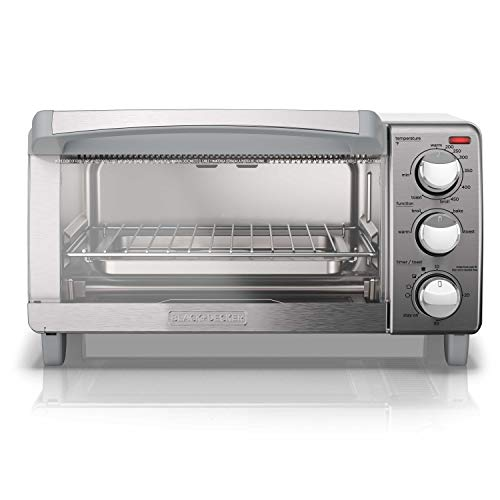BLACK+DECKER 4-Slice Toaster Oven with Natural Convection, Stainless Steel, TO17   60SS