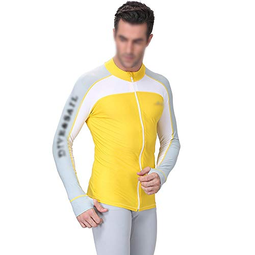 WEATLY Traje de Buceo Masculino Exterior Protector Solar Medusas Hembra Cremallera Manga Larga Playa Snorkel Traje de baño Traje de baño (Color : Male Yellow, Size : XXL)