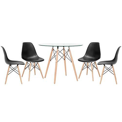 KIT - Mesa de vidro Eames 90 cm + 4 cadeiras Eiffel DSW preto