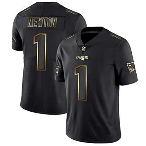 Amerikanisches Rugby-Trikot, Cam Newton # 1 New England Patriots, Unisex Sports Kurzarm-Sweatshirt Fitness Atmungsaktive Stickerei Wiederholbare Reinigung-Black-L