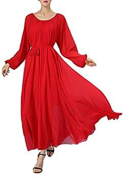 BUENOS NINOS Women s Long Sleeve Crew Neck Loose Chiffon Long Maxi Dress with Belt Red S